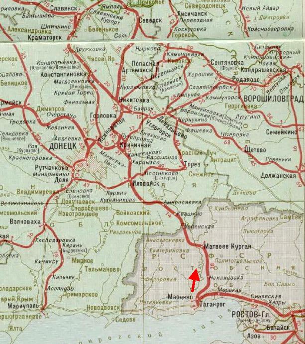 карта железной дороги Таганрог - Иловайск