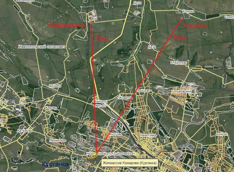 Расстояние от место обстрела (Курганка, Горловка) до расположения Вооруженных Сил Украины